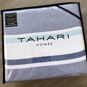 Brand New Tahari King Duvet Set Blue Heritage